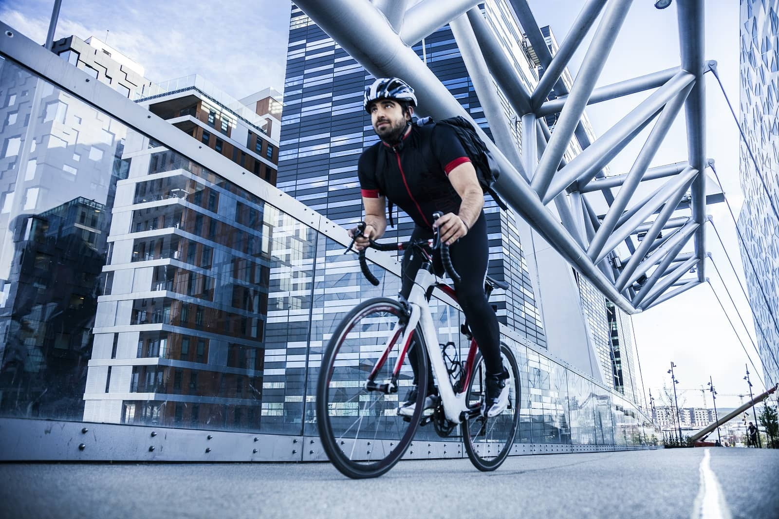 Man biking in city