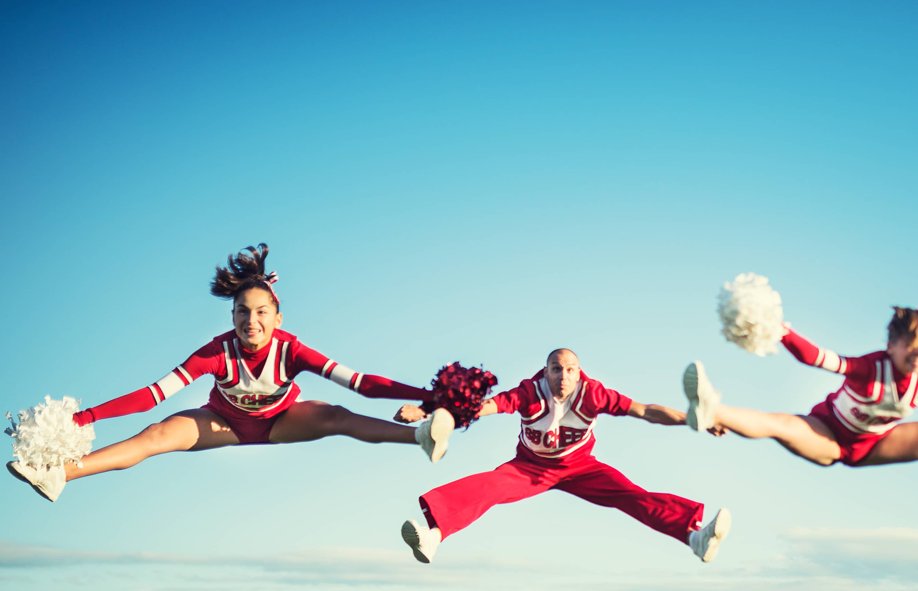 Cheerleaders jumping