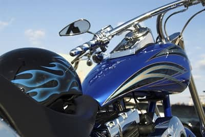 customized motorcycle and helmet