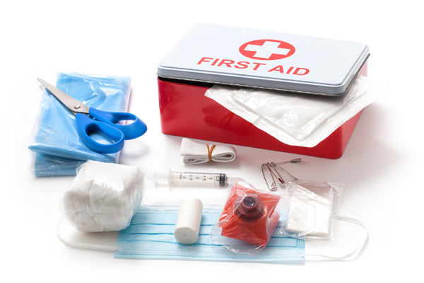 First aid kit box and contents