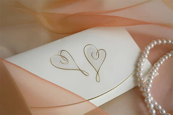 Wedding placecard with pearls