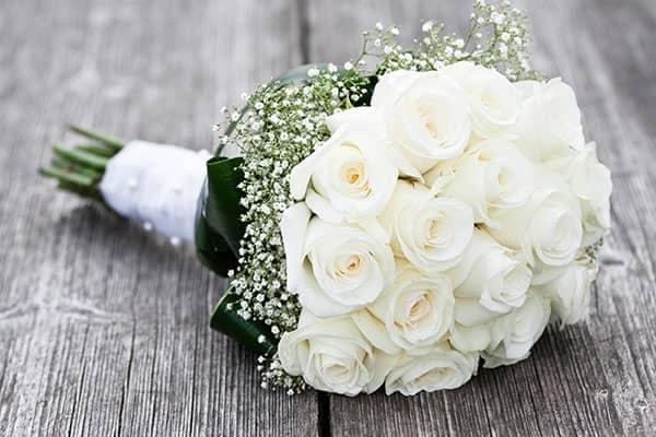 White wedding flower bouquet